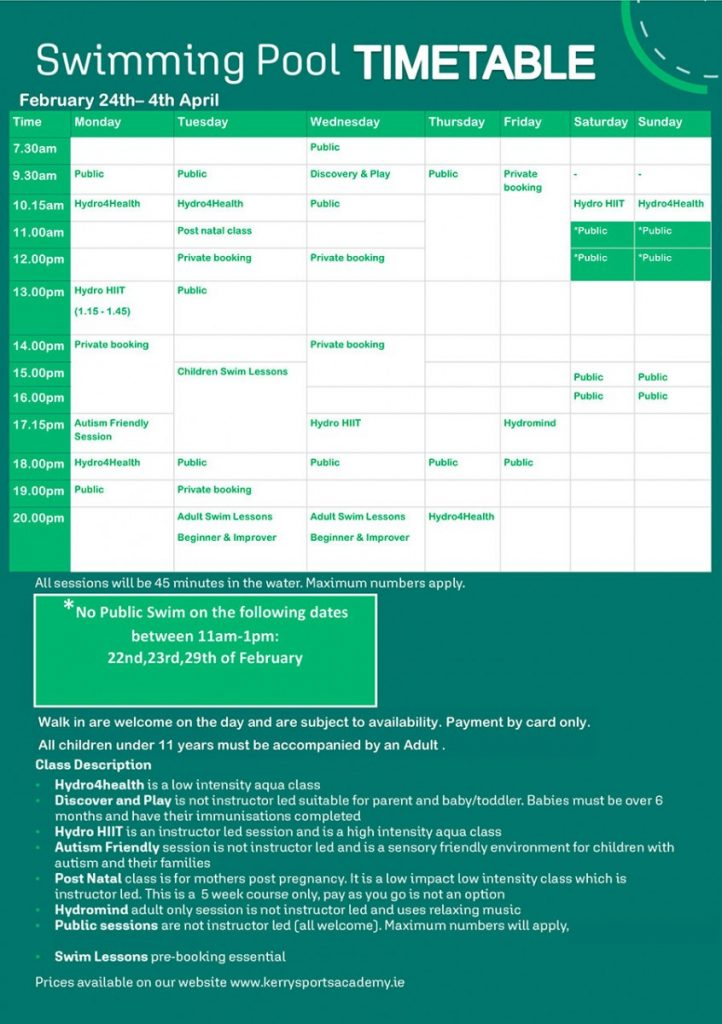 Kerry Sports Academy Pool Timetable
