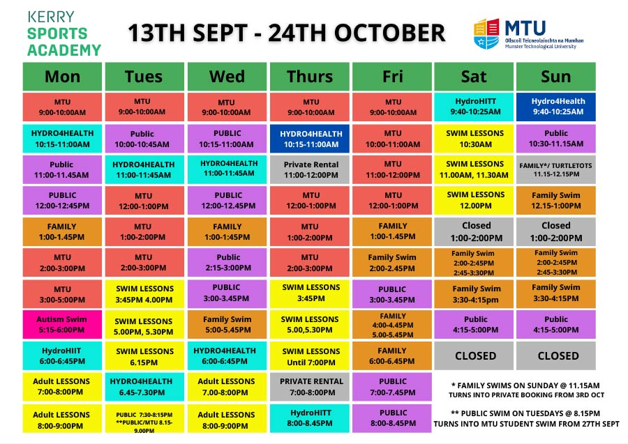 Pool timetable 13th Sept to 24th Oct